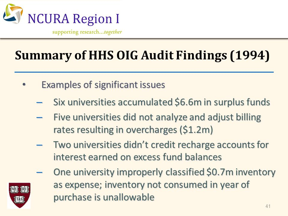 Examples of significant issues Examples of significant issues – Six universities accumulated $6.6m in surplus funds – Five universities did not analyz