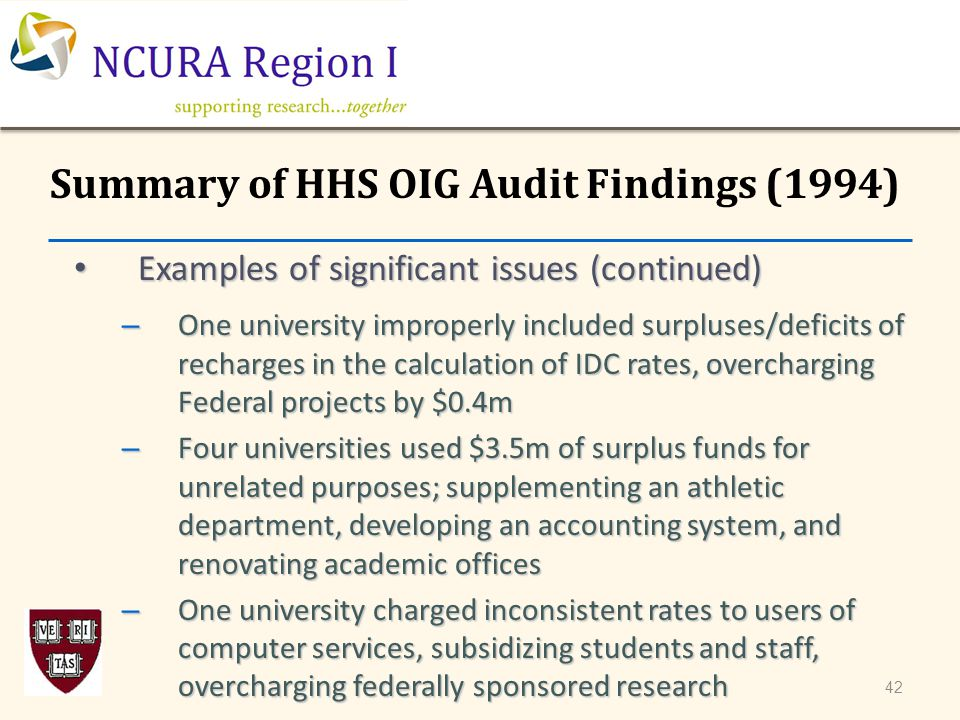 Examples of significant issues (continued) Examples of significant issues (continued) – One university improperly included surpluses/deficits of recha