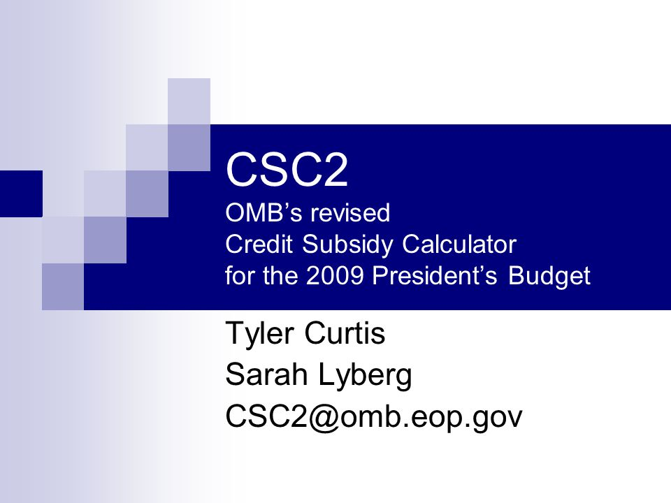 CSC2 OMB's revised Credit Subsidy Calculator for the 2009 President's Budget Tyler Curtis Sarah Lyberg CSC2@omb.eop.gov