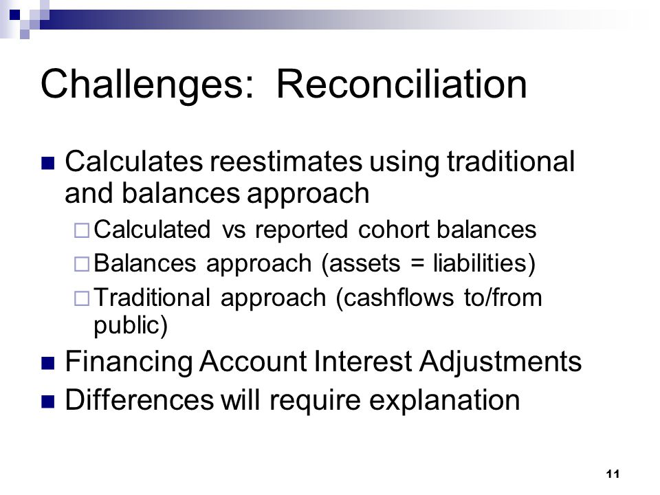 11 Challenges: Reconciliation Calculates reestimates using traditional and balances approach  Calculated vs reported cohort balances  Balances appro
