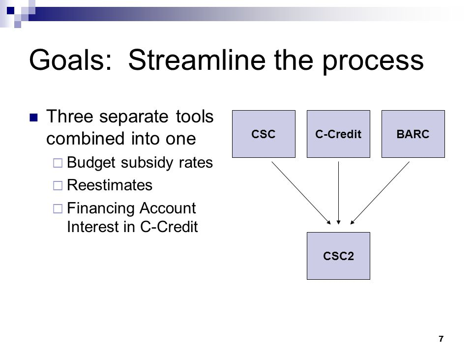7 Goals: Streamline the process Three separate tools combined into one  Budget subsidy rates  Reestimates  Financing Account Interest in C-Credit C