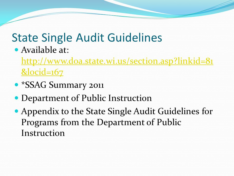 State Single Audit Guidelines Available at: http://www.doa.state.wi.us/section.asp linkid=81 &locid=167 http://www.doa.state.wi.us/section.asp linkid=81 &locid=167 *SSAG Summary 2011 Department of Public Instruction Appendix to the State Single Audit Guidelines for Programs from the Department of Public Instruction