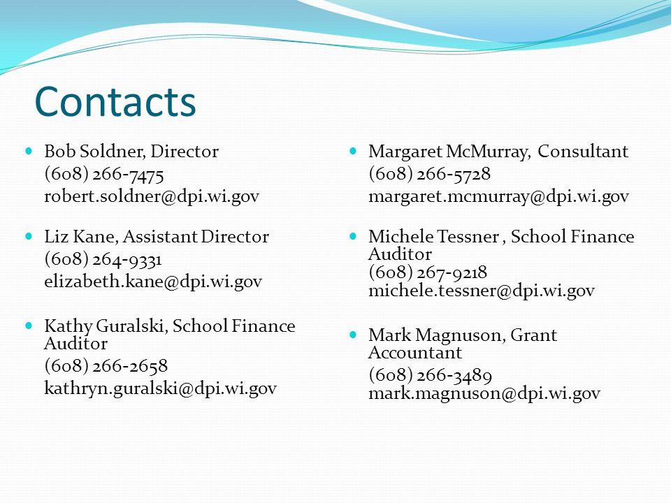 Contacts Bob Soldner, Director (608) 266-7475 robert.soldner@dpi.wi.gov Liz Kane, Assistant Director (608) 264-9331 elizabeth.kane@dpi.wi.gov Kathy Guralski, School Finance Auditor (608) 266-2658 kathryn.guralski@dpi.wi.gov Margaret McMurray, Consultant (608) 266-5728 margaret.mcmurray@dpi.wi.gov Michele Tessner, School Finance Auditor (608) 267-9218 michele.tessner@dpi.wi.gov Mark Magnuson, Grant Accountant (608) 266-3489 mark.magnuson@dpi.wi.gov