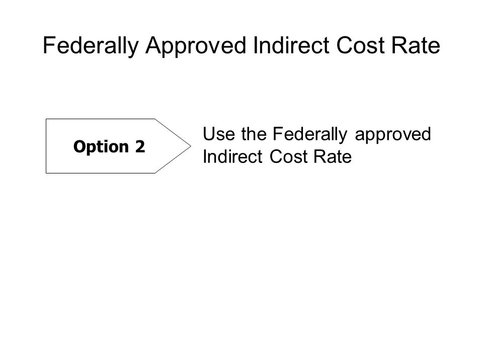 Federally Approved Indirect Cost Rate Option 2 Use the Federally approved Indirect Cost Rate