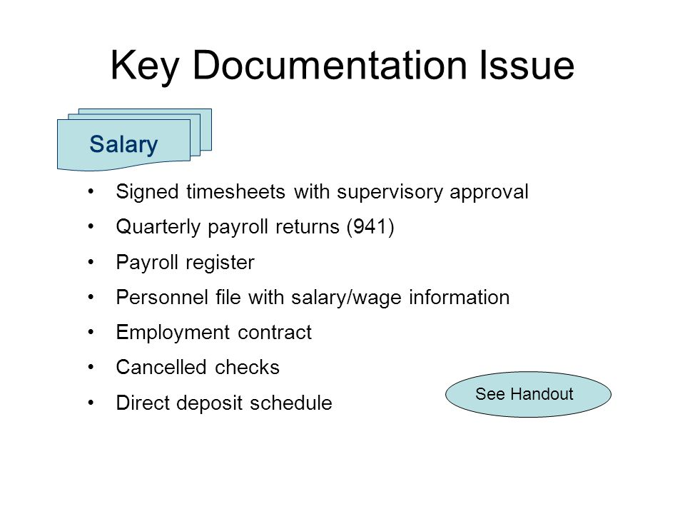 Signed timesheets with supervisory approval Quarterly payroll returns (941) Payroll register Personnel file with salary/wage information Employment co
