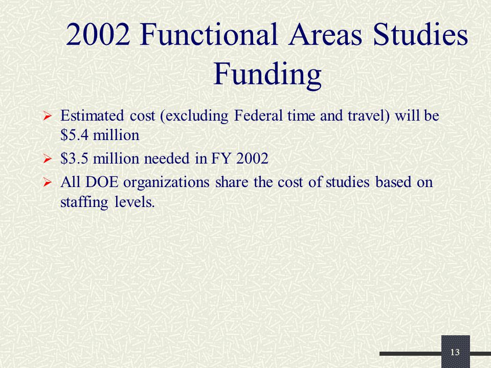 13 2002 Functional Areas Studies Funding  Estimated cost (excluding Federal time and travel) will be $5.4 million  $3.5 million needed in FY 2002  All DOE organizations share the cost of studies based on staffing levels.