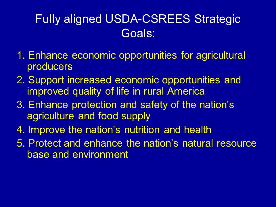 Fully aligned USDA-CSREES Strategic Goals: 1.