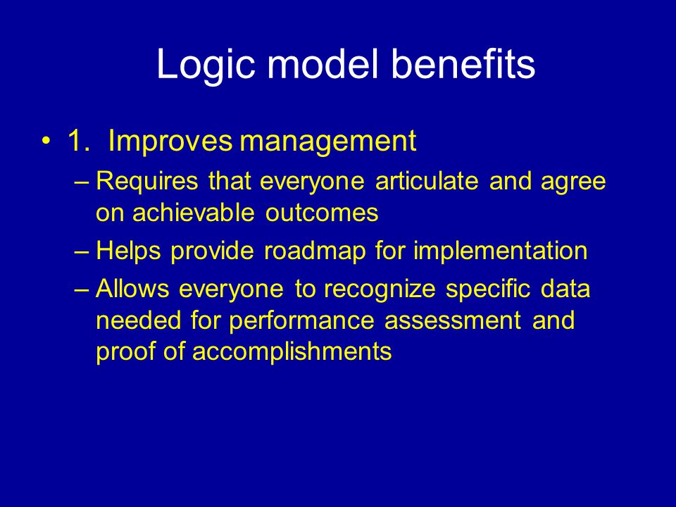 Logic model benefits 1.