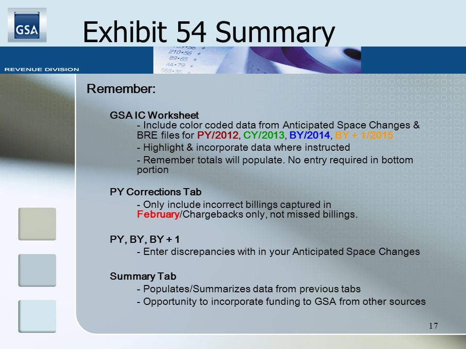 17 Exhibit 54 Summary Remember: GSA IC Worksheet - Include color coded data from Anticipated Space Changes & BRE files for PY/2012, CY/2013, BY/2014, BY + 1/2015 - Highlight & incorporate data where instructed - Remember totals will populate.