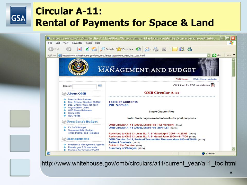 6 http://www.whitehouse.gov/omb/circulars/a11/current_year/a11_toc.html Circular A-11: Rental of Payments for Space & Land