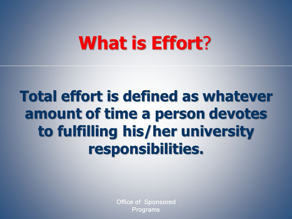 Total effort is defined as whatever amount of time a person devotes to fulfilling his/her university responsibilities.