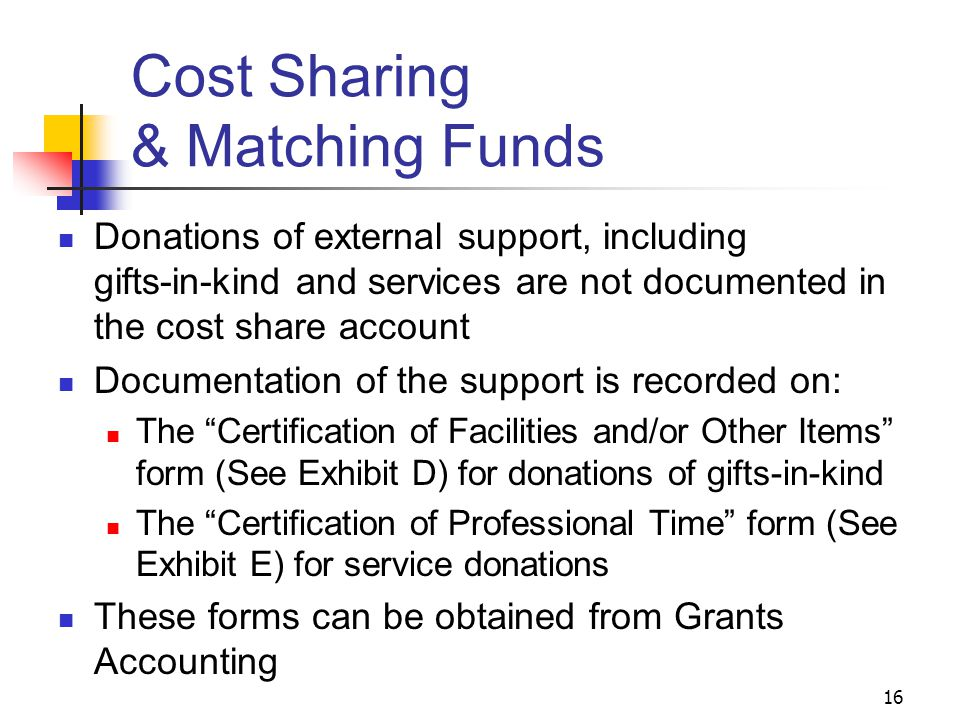 16 Cost Sharing & Matching Funds Donations of external support, including gifts-in-kind and services are not documented in the cost share account Docu