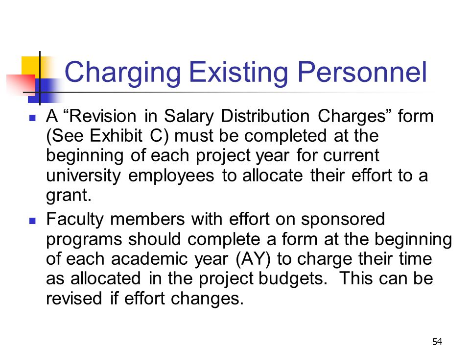 """54 Charging Existing Personnel A """"Revision in Salary Distribution Charges"""" form (See Exhibit C) must be completed at the beginning of each project yea"""