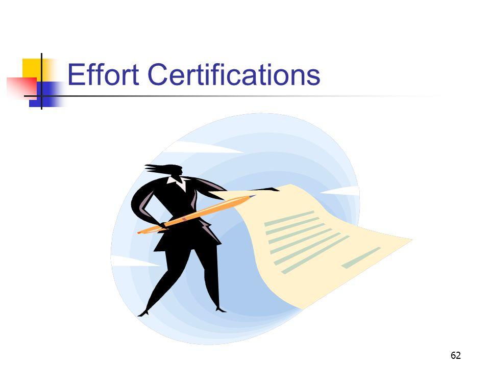 62 Effort Certifications