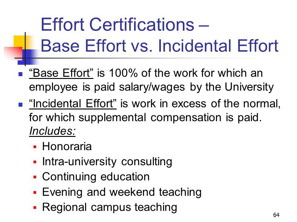 64 Effort Certifications – Base Effort vs.