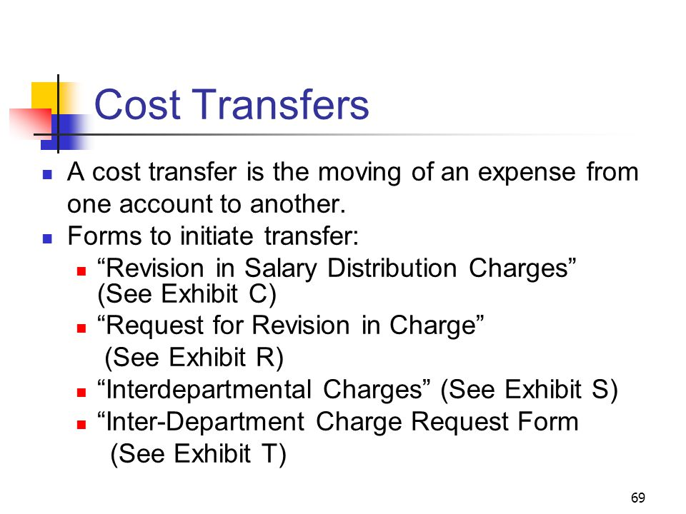 """69 Cost Transfers A cost transfer is the moving of an expense from one account to another. Forms to initiate transfer: """"Revision in Salary Distributio"""