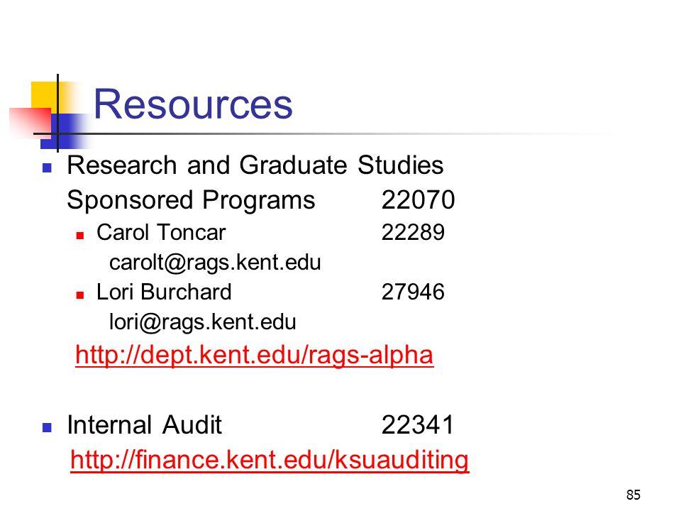 85 Resources Research and Graduate Studies Sponsored Programs 22070 Carol Toncar22289 carolt@rags.kent.edu Lori Burchard27946 lori@rags.kent.edu http://dept.kent.edu/rags-alpha Internal Audit 22341 http://finance.kent.edu/ksuauditing