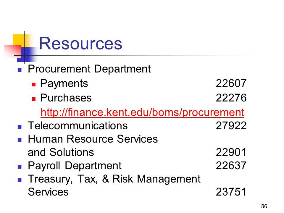 86 Resources Procurement Department Payments 22607 Purchases 22276 http://finance.kent.edu/boms/procurement Telecommunications27922 Human Resource Ser