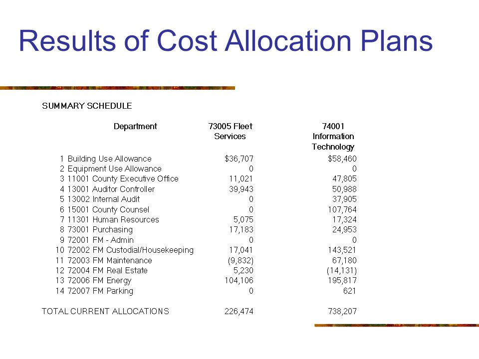 Results of Cost Allocation Plans