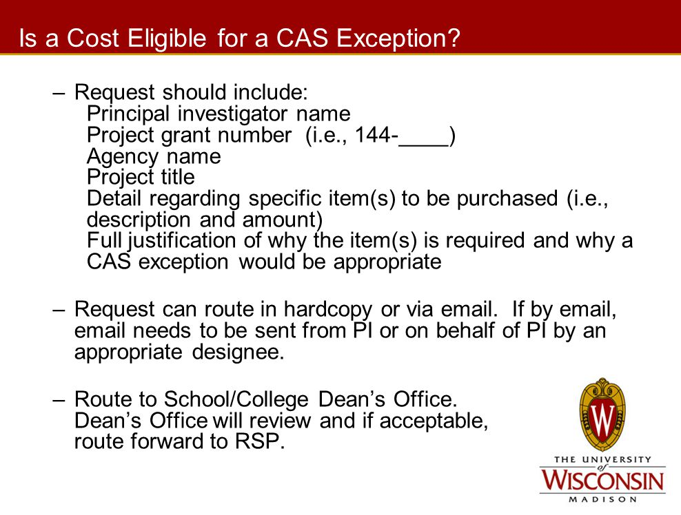 Is a Cost Eligible for a CAS Exception.