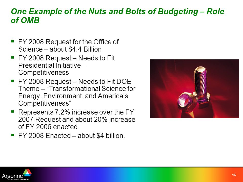 16 One Example of the Nuts and Bolts of Budgeting – Role of OMB  FY 2008 Request for the Office of Science – about $4.4 Billion  FY 2008 Request – Needs to Fit Presidential Initiative – Competitiveness  FY 2008 Request – Needs to Fit DOE Theme – Transformational Science for Energy, Environment, and America's Competitiveness  Represents 7.2% increase over the FY 2007 Request and about 20% increase of FY 2006 enacted  FY 2008 Enacted – about $4 billion.