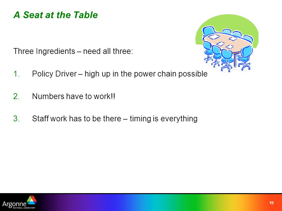 19 A Seat at the Table Three Ingredients – need all three: 1.Policy Driver – high up in the power chain possible 2.Numbers have to work!.
