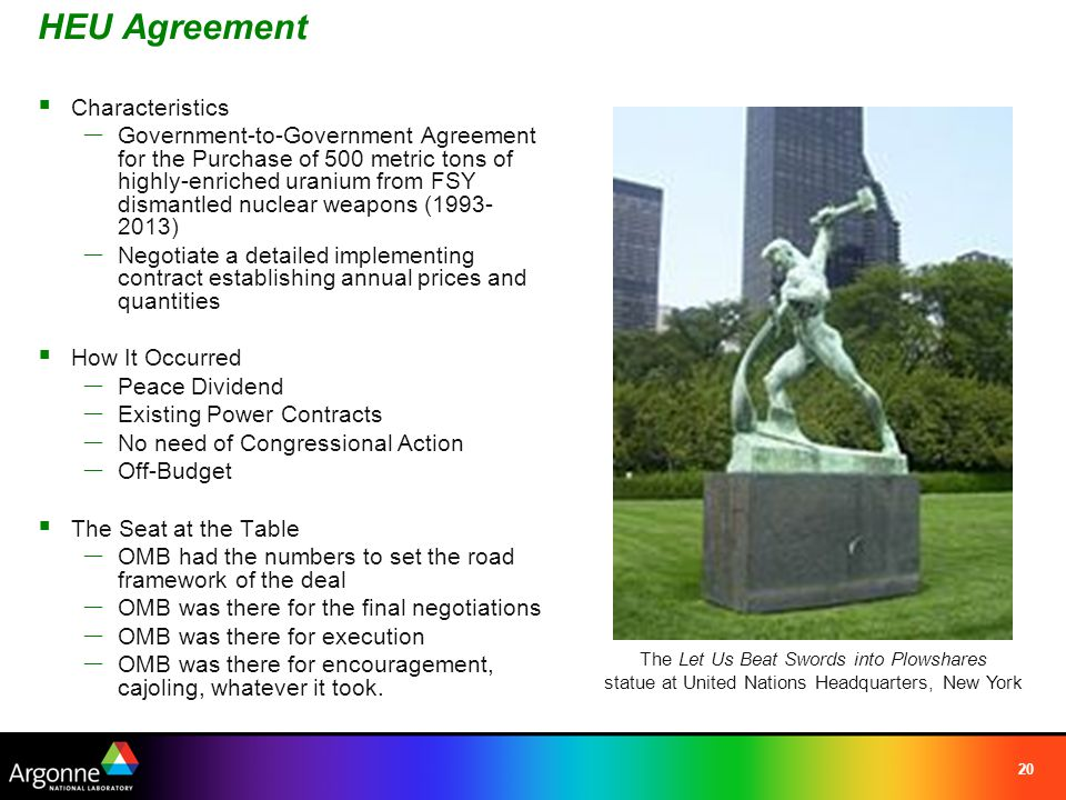 20 HEU Agreement  Characteristics — Government-to-Government Agreement for the Purchase of 500 metric tons of highly-enriched uranium from FSY dismantled nuclear weapons (1993- 2013) — Negotiate a detailed implementing contract establishing annual prices and quantities  How It Occurred — Peace Dividend — Existing Power Contracts — No need of Congressional Action — Off-Budget  The Seat at the Table — OMB had the numbers to set the road framework of the deal — OMB was there for the final negotiations — OMB was there for execution — OMB was there for encouragement, cajoling, whatever it took.