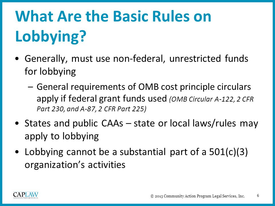 6 What Are the Basic Rules on Lobbying.