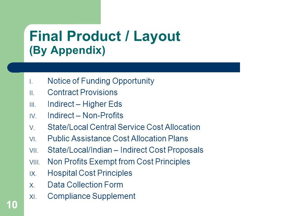 Final Product / Layout (By Appendix) I. Notice of Funding Opportunity II.