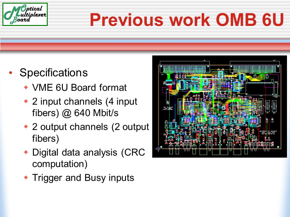 Previous work OMB 6U Specifications  VME 6U Board format  2 input channels (4 input fibers) @ 640 Mbit/s  2 output channels (2 output fibers)  Digital data analysis (CRC computation)  Trigger and Busy inputs