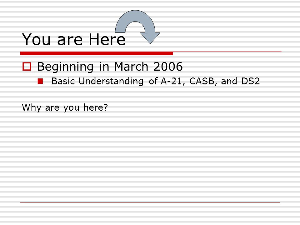 You are Here  Beginning in March 2006 Basic Understanding of A-21, CASB, and DS2 Why are you here?
