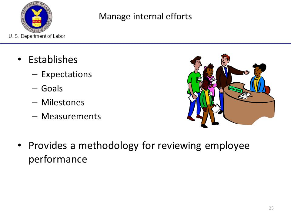 U. S. Department of Labor 25 Manage internal efforts Establishes – Expectations – Goals – Milestones – Measurements Provides a methodology for reviewi
