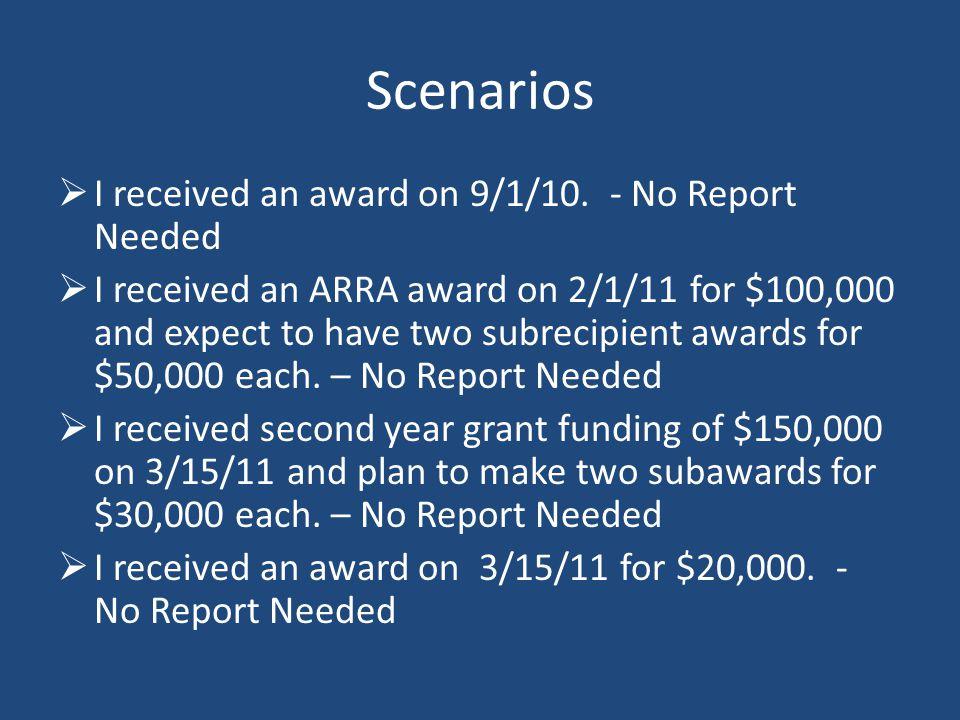 Scenarios  I received an award on 9/1/10.