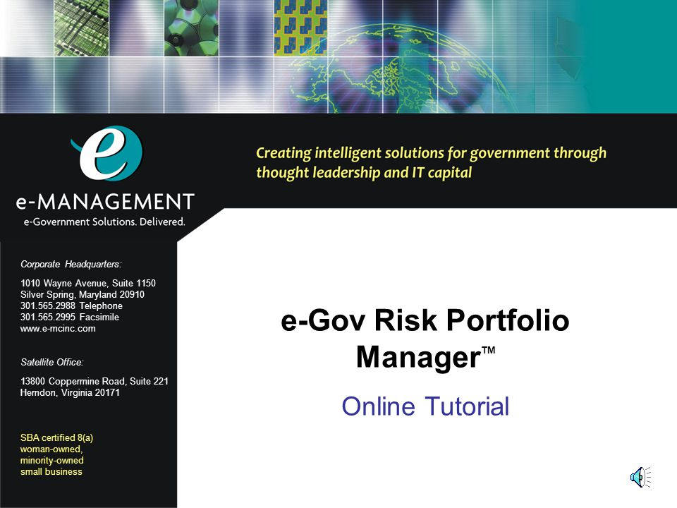 11 Review: eGov RPM Configuration Tasks You have completed a review of the six eGov RPM configuration tasks: You are now ready to create portfolios and define your risk control structure.