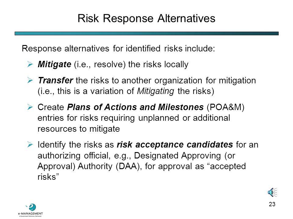 22 The Risk Module: Risk Response