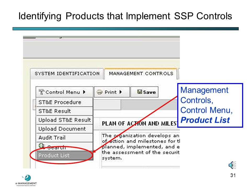 30 SSP System Identification Section FIPS 199 rating Asset (the C&A package's portfolio) identification Security Management tab, Security Plan submenu