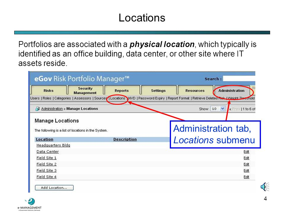 14 Creating a Portfolio Creating a Portfolio in eGov RPM is simple: 2) Click the new folder icon located in the lower left corner of the page.