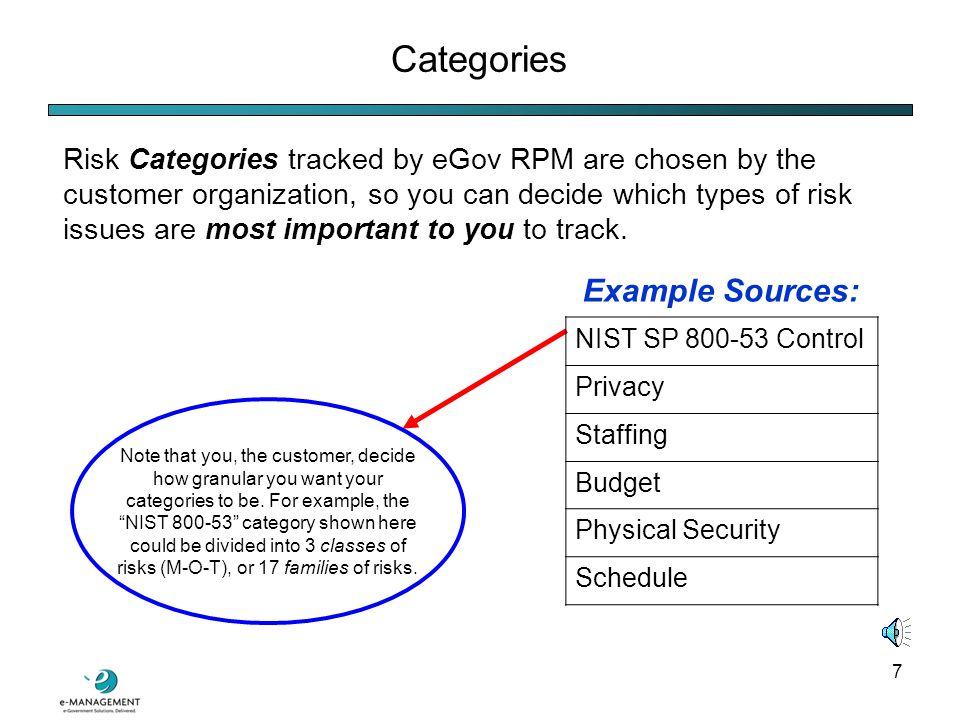 27 Security Categorization Analysis eGov RPM automates NIST SP 800-60 security categorization: