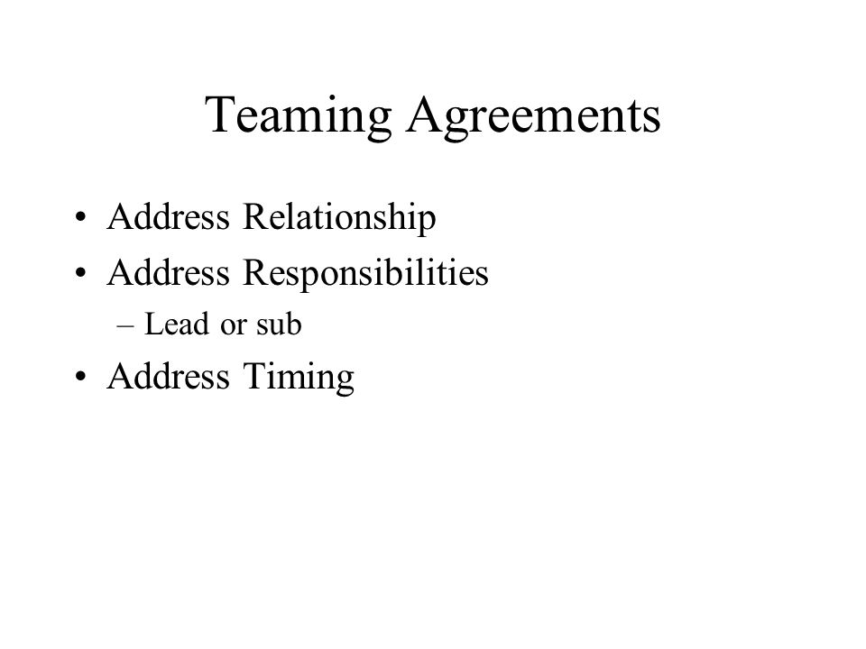 Address Relationship Address Responsibilities –Lead or sub Address Timing
