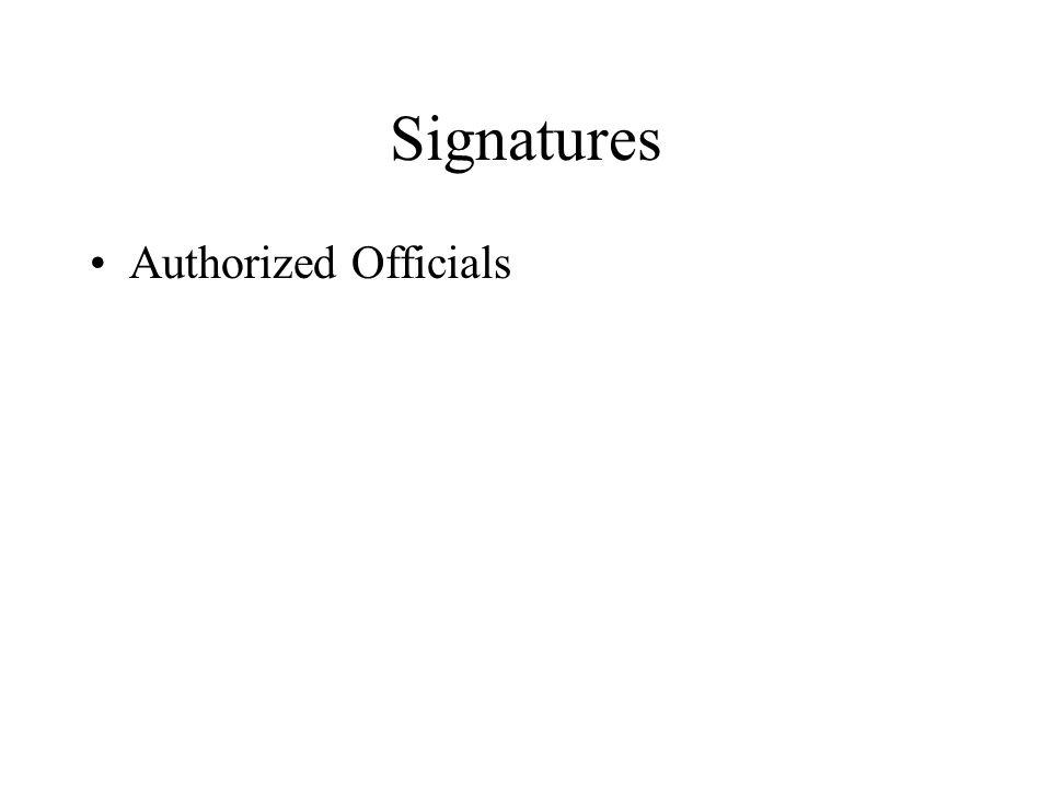 Signatures Authorized Officials