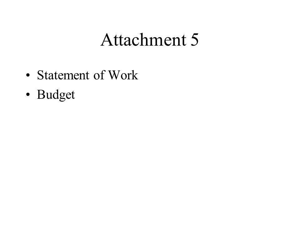 Attachment 5 Statement of Work Budget