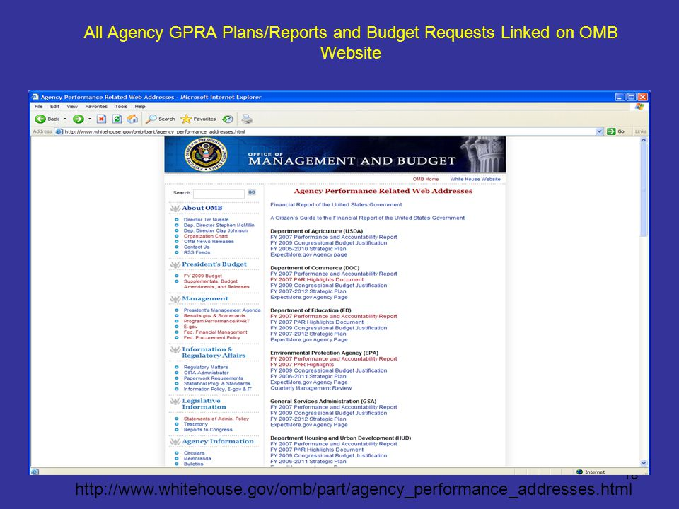 18 All Agency GPRA Plans/Reports and Budget Requests Linked on OMB Website http://www.whitehouse.gov/omb/part/agency_performance_addresses.html