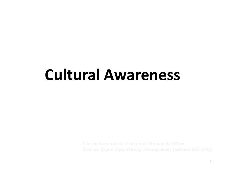 1 Cultural Awareness Curriculum and Instructional Standards Office Defense Equal Opportunity Management Institute (DEOMI)