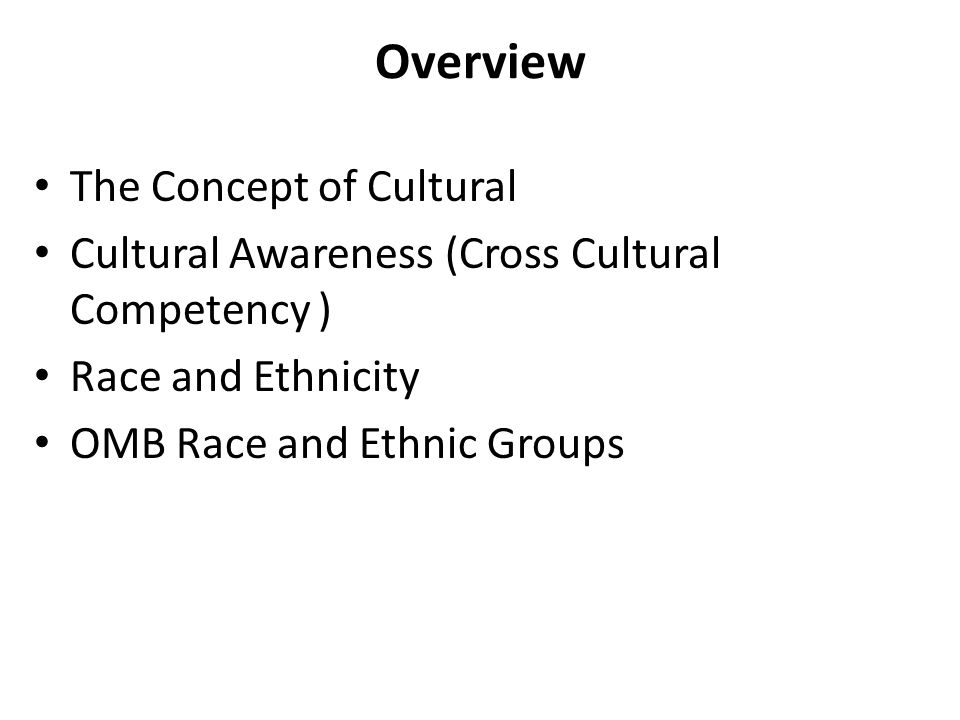 Overview The Concept of Cultural Cultural Awareness (Cross Cultural Competency ) Race and Ethnicity OMB Race and Ethnic Groups