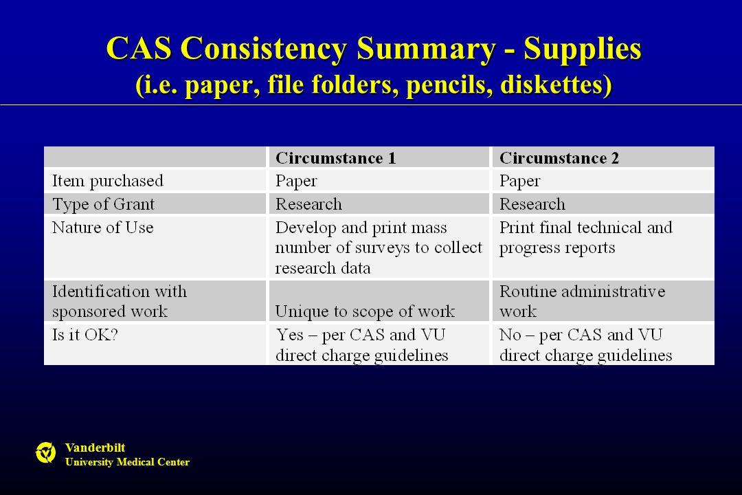 Vanderbilt University Medical Center CAS Consistency Summary - Supplies (i.e.