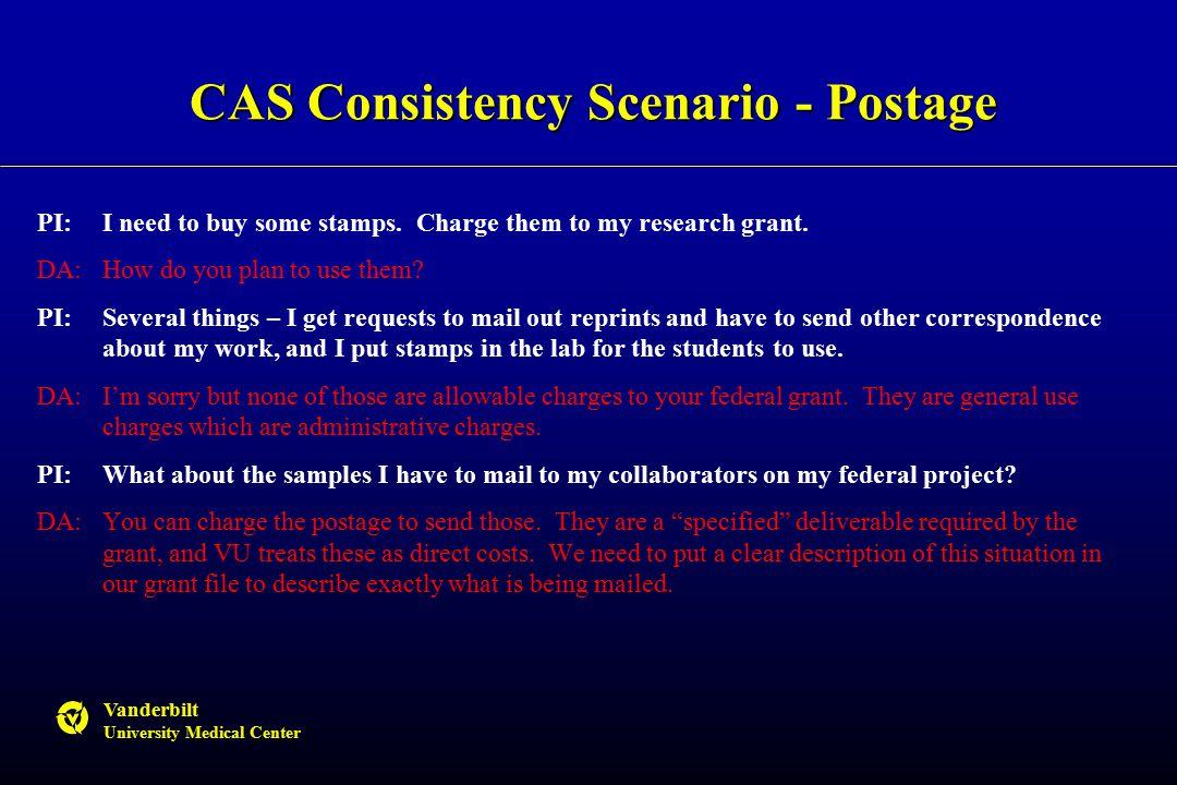 Vanderbilt University Medical Center CAS Consistency Scenario - Postage PI:I need to buy some stamps.