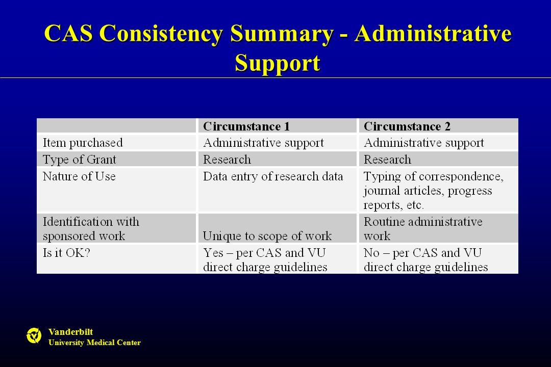 Vanderbilt University Medical Center CAS Consistency Summary - Administrative Support