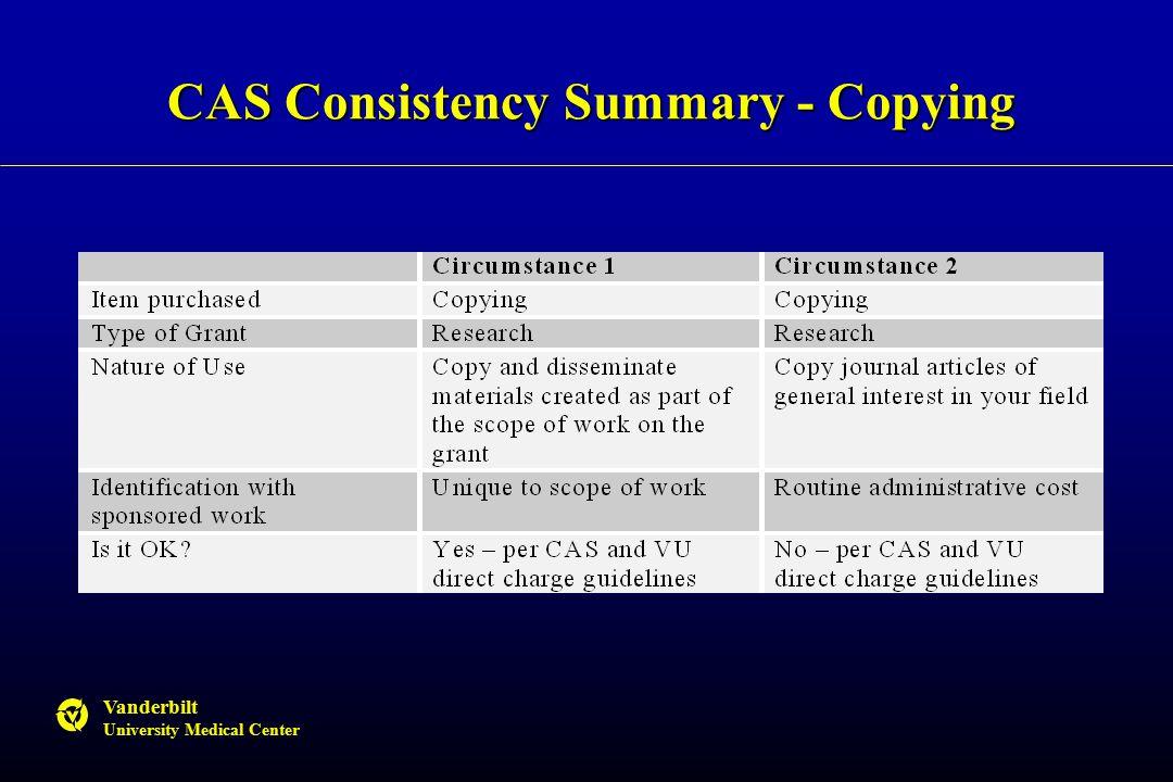 Vanderbilt University Medical Center CAS Consistency Summary - Copying