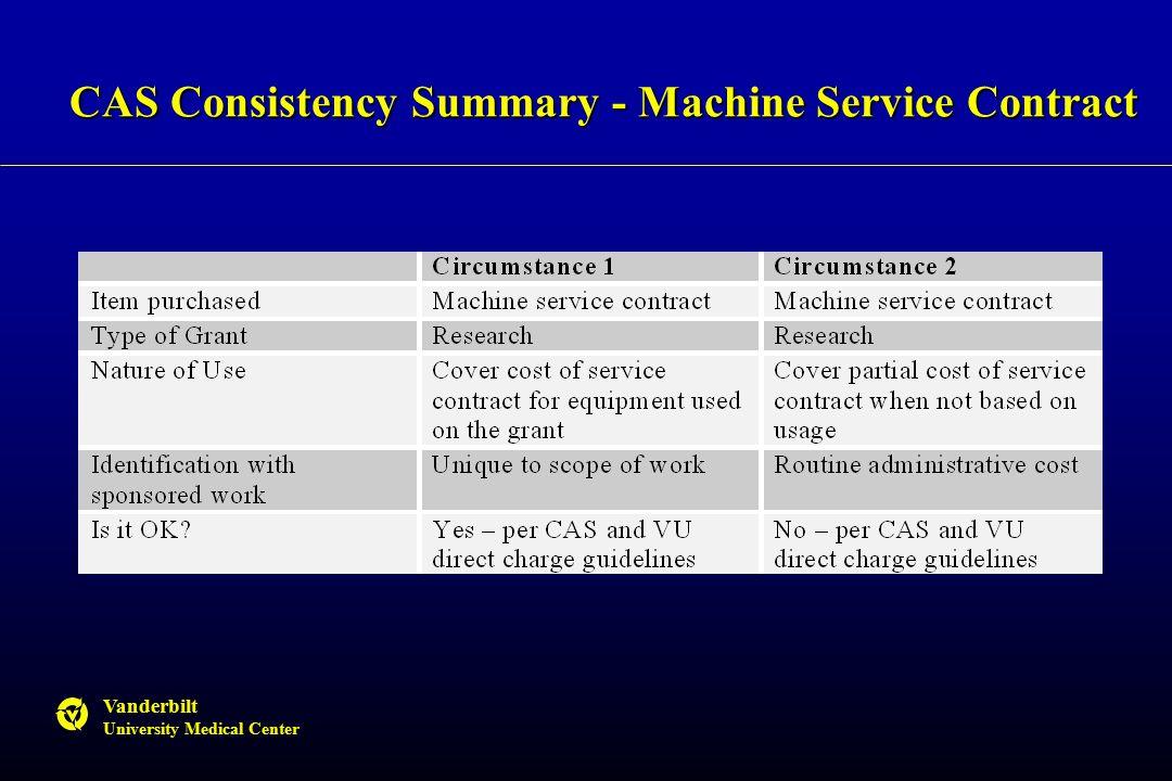 Vanderbilt University Medical Center CAS Consistency Summary - Machine Service Contract