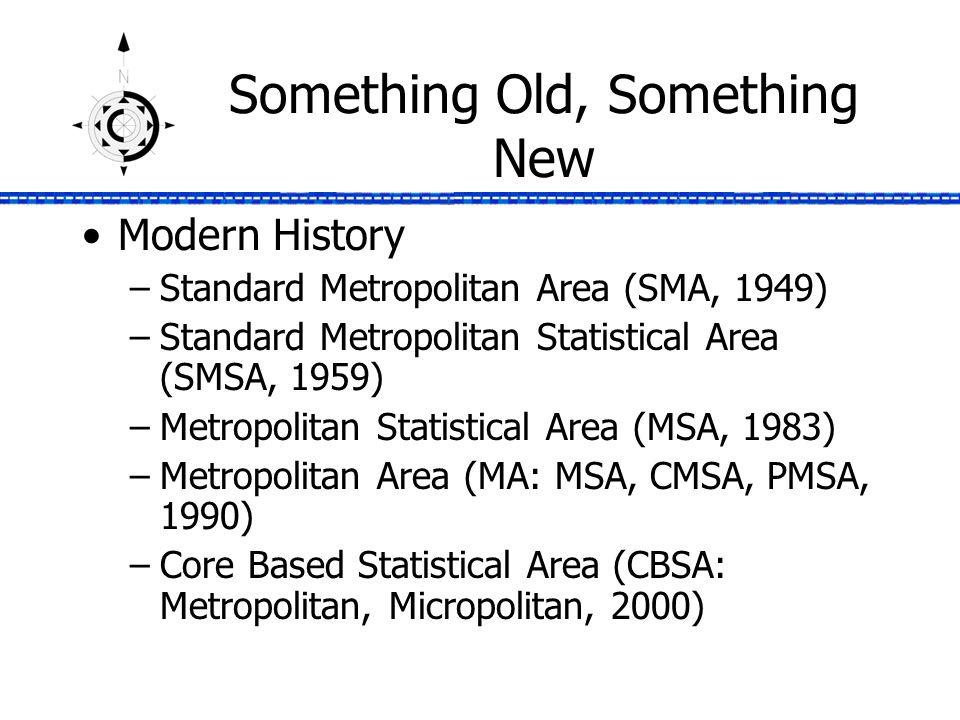 Something Old, Something New Modern History –Standard Metropolitan Area (SMA, 1949) –Standard Metropolitan Statistical Area (SMSA, 1959) –Metropolitan Statistical Area (MSA, 1983) –Metropolitan Area (MA: MSA, CMSA, PMSA, 1990) –Core Based Statistical Area (CBSA: Metropolitan, Micropolitan, 2000)